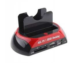 SATA HDD Docking Station - SATA+SATA - cu cititor card si HUB