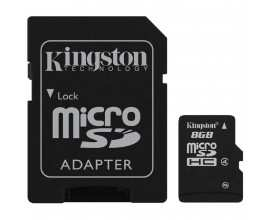 KINGSTON Memory ( flash cards ) 8GB Micro SDHC Class 4 with SD adapter