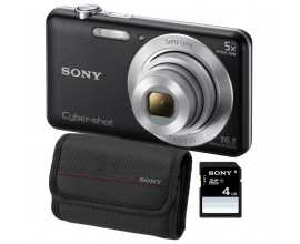 Aparat foto digital Sony DSC-W710, 16MP, Black + Card SD 4GB, Husa