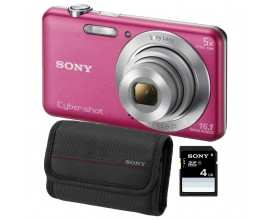Aparat foto digital Sony DSC-W710, 16MP, Pink + Card SD 4GB, Husa